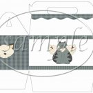 Cat -itude Blue ~ Gable Gift or Snack Box