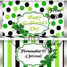 Happy St. Patrick's Day Large Green Stripes ~ Standard 1.55 oz Candy Bar Wrapper  SOE