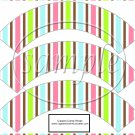 Spring Color Stripes ~  Cupcake Wrappers ~ Set of 1 Dozen