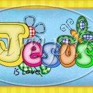 Jesus is Love Blue ~  Quart Glass Jar