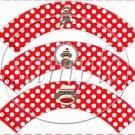 Sock Monkey Red & White Polka Dot ~  Cupcake Wrappers ~ Set of 1 Dozen