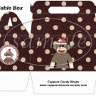 Sock Monkey Brown Polka Dot ~ Gable Gift or Snack Box
