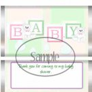 Pink & Green Baby Blocks Thank you for Coming Baby Shower ~ Standard 1.55 oz Candy Bar Wrapper