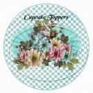 Aqua Checkered Floral ~  Cupcake Pick & Toppers ~ Set of 1 Dozen