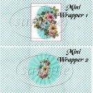 Aqua Checkered Floral  ~ MINI Candy Bar Wrappers