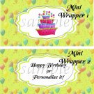 Party Balloons Lime ~ MINI Candy Bar Wrappers