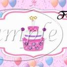 Party Balloons Pink ~  Quart Glass Jar
