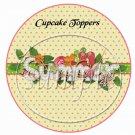 Summer Pink Polka Dot  ~  Cupcake Pick & Toppers ~ Set of 1 Dozen