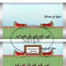 Summer Time Watermelon  ~ Standard 1.55 oz Candy Bar Wrapper  SOE