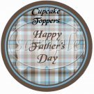 Blue & Brown Plaid ~ Father's Day ~  Cupcake Pick & Toppers ~ Set of 1 Dozen