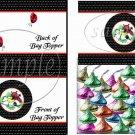 Polka Dot Floral Ladybug #2  ~ Treat Bag Topper