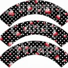 Black White Polka Dot Ladybug ~ Cupcake Wrappers ~ Set of 1 Dozen