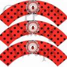 Black on Red Polka Dot Ladybug #2 ~ Cupcake Wrappers ~ Set of 1 Dozen
