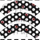 Large White on Black Polka Dot Ladybug #2 ~ Cupcake Wrappers ~ Set of 1 Dozen