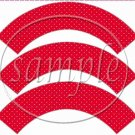 Ladybug White on Red Polka Dot Floral ~ Cupcake Wrappers ~ Set of 1 Dozen
