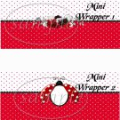 Ladybug White on Red Polka Dot Floral ~ MINI Candy Bar Wrappers