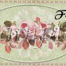 Pink Roses Green Background Floral ~  Quart Glass Jar