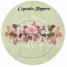 Pink Roses Green Background Floral  ~  Cupcake Pick & Toppers ~ Set of 1 Dozen