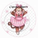 Pink Ballerina Monkey Birthday ~  Cupcake Pick & Toppers ~ Set of 1 Dozen