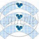 Blue Rose Plaid Floral ~ Cupcake Wrappers ~ Set of 1 Dozen