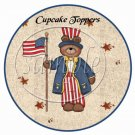 God Bless America Bears  ~  Cupcake Pick & Toppers ~ Set of 1 Dozen