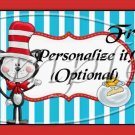 Dr. Seuss Cat in the Hat ~ Faux or Inspired By ~  Quart Glass Jar