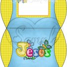 Jesus is Love  Blue with Yellow ~ Personalizable Pillow Treat Gift Box