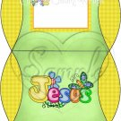 Jesus is Love  Green with Yellow ~ Personalizable Pillow Treat Gift Box