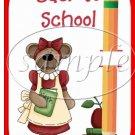 Back To School Bear Teacher #3 ~ Pencil, Sucker Lollipop Greeting Card