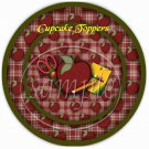 An Apple A Day For The Teacher  ~ Cupcake Toppers ~ Set of 1 Dozen
