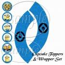 Minion Minions Symbol Logo ~ Faux or Inspired By  ~ Cupcake Topper & Wrapper Set ~ Set of 1 Dozen
