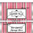 Pink  Stripe Thank You ~ Standard 1.55 oz Candy Bar Wrapper  SOE