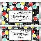 Black with Polka Dots Thank You ~ Standard 1.55 oz Candy Bar Wrapper  SOE