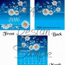 Daisies on a Field of Blue White Text ~ 12 Month CD Case Calendar 2017