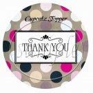 Tan Background Black & Pink Polka Dots Thank You ~ Cupcake Toppers ~ Set of 1 Dozen