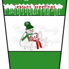 Season's Greetings Snow Play Green ~  Gift Card Holder Latte` Cup