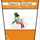 Season's Greetings Snow Play Orange ~  Gift Card Holder Latte` Cup