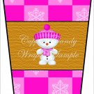 Snowman Pink Hat ~  Gift Card Holder Latte` Cup
