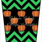 Halloween Pumpkin Green Chevron ~  Gift Card Holder Latte` Cup