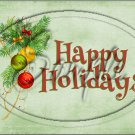"""Happy Holidays Ornaments Green~ Christmas  ~ Horizontal ~ 6"""" X 8"""" Foil Pan Lid Cover"""