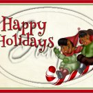 """Happy Holidays AA Kids  on Sled ~ Horizontal ~ 6"""" X 8"""" Foil Pan Lid Cover"""