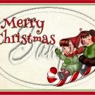 "Merry Christmas Caucasian Kids on Sled  ~ Horizontal ~ 6"" X 8"" Foil Pan Lid Cover"