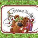 "Christmas Blessings Bear  ~ Horizontal ~ 6"" X 8"" Foil Pan Lid Cover"