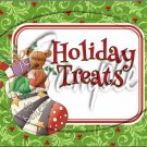 "Holiday Treats Bear in Stocking~ Christmas  ~ Horizontal ~ 6"" X 8"" Foil Pan Lid Cover"