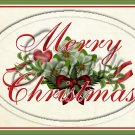 "Merry Christmas Green Floral ~ Horziontal ~ 6"" X 8"" Foil Pan Lid Cover"