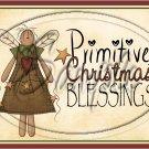 "Primitive Christmas Blessings Angel  ~ Horziontal ~ 6"" X 8"" Foil Pan Lid Cover"
