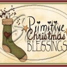"""Primitive Christmas Blessings Stocking  ~ Horziontal ~ 6"""" X 8"""" Foil Pan Lid Cover"""