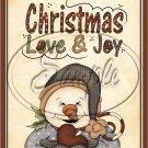 """Christmas Love & Joy Snowman ~ Vertical  ~ 6"""" X 8"""" Foil Pan Lid Cover"""