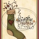 "Primitive Christmas Blessings Stocking  ~ Vertical ~ 6"" X 8"" Foil Pan Lid Cover"