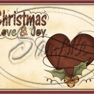 """Christmas Love & Joy Country Heart ~ Horziontal  ~ 6"""" X 8"""" Foil Pan Lid Cover"""